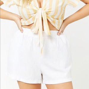 White Cuffed Linen Blend Shorts